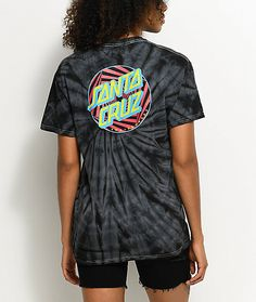 a6220e5fddc Santa Cruz Party Dot Spider Black Tie Dye T-Shirt