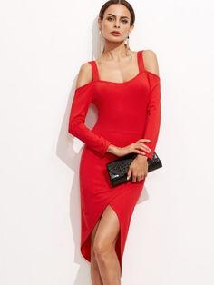 Asymmetrisches Kleid 2017 Cut-Outs am der Schulter Rot