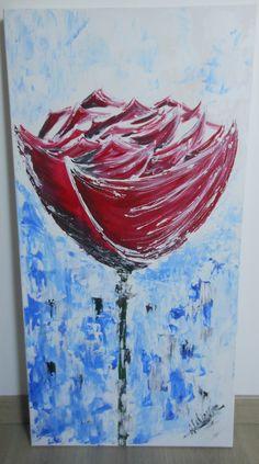 Rose tout en longueur Acrylique 50*100 cm