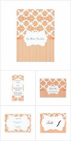 Nectarine and White Damask Wedding Bright White Background, Damask Wedding, White Damask, Invitation Set, Reception, Elegant, Pattern, Beautiful, Color
