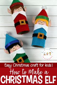 Christmas crafts don't get any easier than this elf craft for kids! With a cardboard tube base and a handful of simple supplies, kids can whip them up fast. #christmas #christmascrafts #elf #elfontheshelf #buddytheelf #preschoolcrafts   https://homeschoolpreschool.net/elf-craft-for-kids/