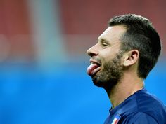 Antonio Cassano has fun during an Italy training session at the Arena