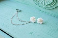 Ivory Heirloom Rose Double Silver Chain Ear Cuff by oflovelythings, $11.15