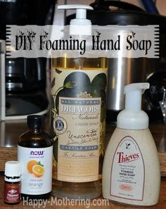 DIY Foaming Hand Soap Tutorial-- I bought orange essential oil yesterday to scent and try out the soap and shampoo recipes.