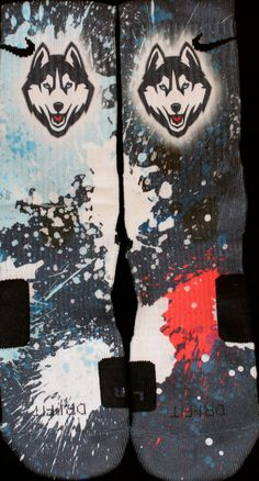 UCONN Huskies Inspired Custom Nike Elite Socks  Each pair is custom created when you order. There are minor flaws in each creation -- no two socks are the same.  These are authentic Nike Elite socks for sale. The design on the sock was not created by Nike, but was created and customized by me...