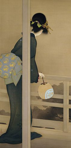 Waiting for the Moon, Courtesy of the Kyoto Municipal Museum of Art Uemura Shōen  「待月」 上村松園 Design Oriental, Art Chinois, Art Asiatique, Art Japonais, Japanese Painting, Japanese Prints, Japan Art, Japanese Culture, Woodblock Print