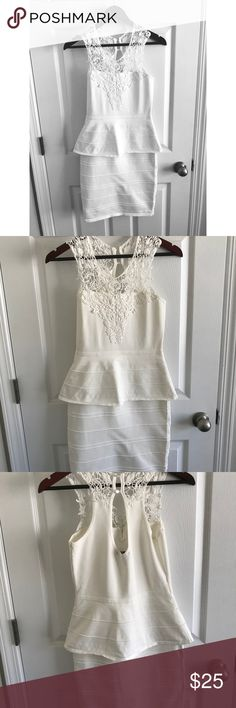 WOWCOUTURE BODYCON WHITE PEPLUM DRESS size M Perfect for bridal shower, rehearsal dinner, bachelorette. White bodycon dress. Worn once. Crochet detail on neckline. WOW couture Dresses Mini