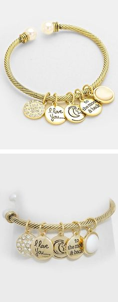 I Love You To The Moon and Back Charm Bracelet ❤︎