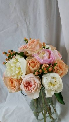 Peonies and roses bouqet
