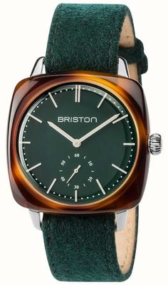 3c66c4db Briston Mens Clubmaster Vintage Green Fabric Strap Green Dial  17440.SA.TV.16.LFBG - First Class Watches™