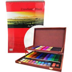 Complete Colouring And Sketch Studio with A3 Sketch Pad and Artists Palette…