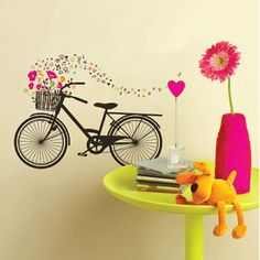 Wall Art - Bike With Basket Flowers