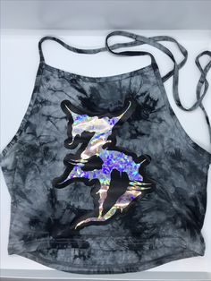 Zeds Dead Holographic Halter Top  Edm Rave outfit Rave clothing  Halter Crop top Holographic clothing Hologram  Festival clothing Edm girls Edc EDCLV Insomniac Electric forest Basshead