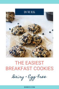 These Blueberry & Cacao nib Breakfast Cookies are loaded with nourishing ingredients to fuel your morning. Dried blueberries, chopped walnuts, flaxseed meal, cacao nibs, chia seeds, oh my! These cookies are perfect for a grab-and-go breakfast or a mid-afternoon pick-me-up. Perfect for your kids to snack on mid day! Blueberry Breakfast, Breakfast Cookies, Breakfast Recipes, Easy To Make Breakfast, Clean Eating Breakfast, Peanut Butter Bites, Mid Afternoon, Dried Blueberries, Cacao Nibs