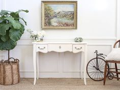 Vintage French Shabby Chic Vanity Desk / Console Table with Flip Up Mirror No265