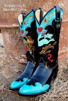 Let 'Er Buck custom hand painted cowboy boots by Hopscotch Dandelions