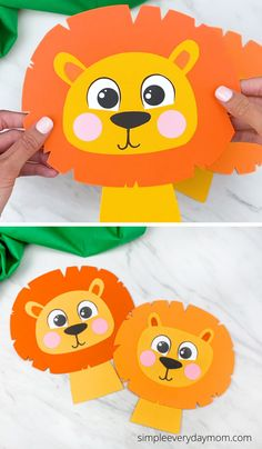 Need a simple zoo animal craft idea for the kids to make? This easy paper lion craft is great and comes with a free printable template. Have the kids work on fine motor skills and creativity with this craft. Download and make with preschool, pre k and kindergarten children.   #simpleeverydaymom Zoo Animal Crafts, Elephant Crafts, Lion Craft, Lion Kids Crafts, Easy Art For Kids, Kids Work, Pre K Activities, Craft Free, Animal Birthday