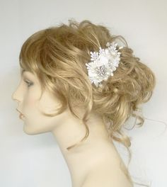 Floral Bridal Hair Comb- White Wedding Hair Piece- Vintage Wedding Hair Accessories- Statement Bridal hairpiece or clip. $59.00, via Etsy.
