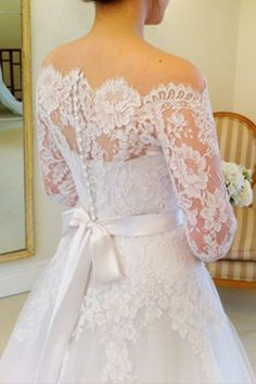 Custom Made Vintage A Line Off the Shoulder Long Sleeve Lace Wedding Dresses with veil made to order by DFdiscoverfashion on Etsy