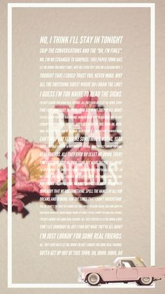 Lyrics of Real Friends by Camila Cabello -I created this in Spark post app, feel free to take it for IPhone wallpaper