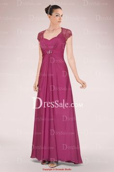 Romanitc Chiffon A-line Mother of Bride Dress Accented with Lace Panel and Keyhole Back
