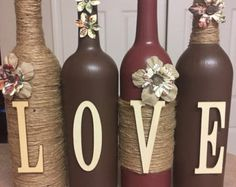 Home Sweet Home Painted Wine and Beer Bottles set of three