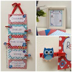 Red and Blue Owl Classroom Decor Set - Speech Room Style - minus the owls I like the colors