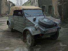 Kübelwagen, Mateusz Michalski on ArtStation at https://www.artstation.com/artwork/laP3Y