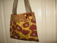Canvas handbag  purse tote  yellow  rust colored by jewellgem, $30.00