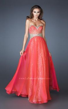 { 19021 | La Femme Fashion 2013 } La Femme Prom Dresses - Sequin Underlay - Jeweled Striped Bodice - Sweetheart Strapless - Spring Colors