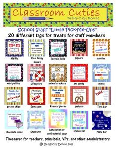 """A mega-set of 20 tags for little gifts for school staff - great timesaver for administrators, PTA members, teachers and others who want to give little """"pick me ups"""" to school staff"""