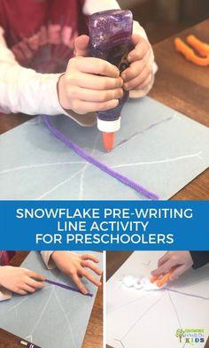 Snowflake Pre-Writing Line Activity for Preschoolers.     #Preschool #ece #prewriting #childdevelopment #occupationaltherapy #pediOT