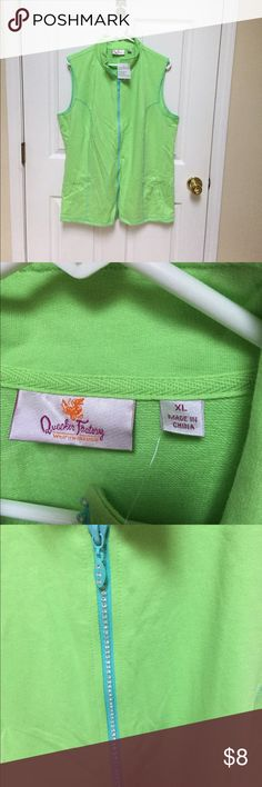 Lime green vest Lime green vest. Crystals on zipper quaker factory Tops