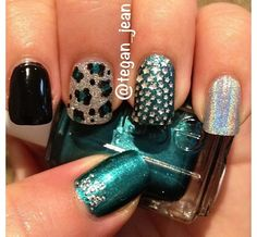 black silver & teal solid acrylic
