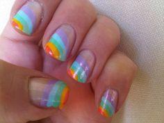 31 day nail art challenge day9 rainbow nail #nailart #nailpolish #rainbownails