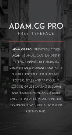 ADAM.CG PRO - Free Typeface on Behance