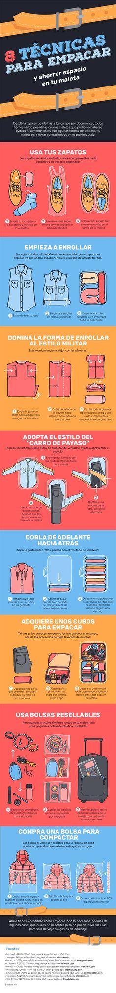 8 técnicas para ahorrar espacio en tu maleta por #Expedia http://mundodeviagens.com/ - Existem muitas maneiras de ver o Mundo. O Blog Mundo de Viagens recomenda... TODAS!
