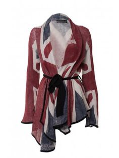Religion Clothing Cardigan Union Jack In Navy/Red. - Image 1 of 8