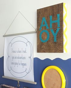 DIY Fabric and Wood art for the pirate playroom