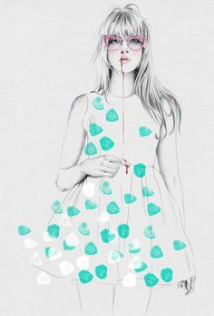 *Esra Roise #illustration #painting #drawing #cyan #turquoise