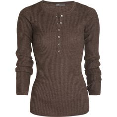 Ribbed Henley (535 BRL) ❤ liked on Polyvore featuring tops, shirts, long sleeves, sweaters, long sleeve tops, women, co-op designer rtw, long-sleeve henley shirts, long sleeve crew neck shirt and crew shirt