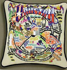 "Cat Studio ""Houston"" Embroidered Pillow"