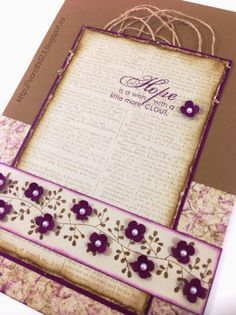 Linda Vich Creates: Here's Hoping It's Subtle. A subtle but elegant card made using Bordering Blooms, Bloom With Hope and the Dictionary stamp sets from Stampin' Up!