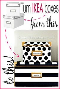 DIY Decorated Storage Boxes - Kate Spade Inspired.  The striped box is easiest to do.  Apply removable painter's tape to form stripes.  Paint the box, then remove the tape to see painted stripes.