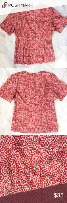 "St. Marks Short Sleeve Button Down Top This beautiful top has lovely pearl buttons. No size tag. Floral design. 25"" Long and 18"" Armpit to Armpit. Fits like a size small. St Marks Tops Button Down Shirts"