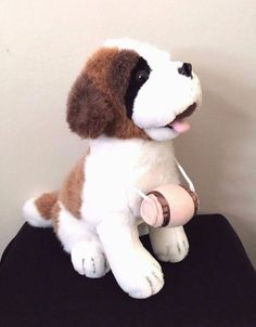 9fe888b58d8 Mai Toi Plush Dog White Toy Saint Bernard Stuffed Animal With Barrel