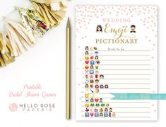 Pink and Gold Bridal Shower Wedding Emoji by hellorosepaperie