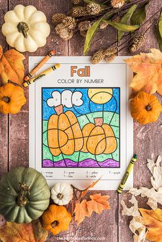 Color by Number Fall Printables Fall Crafts For Kids, Crafts For Girls, Toddler Crafts, Projects For Kids, Kids Crafts, Autumn Activities For Kids, Fun Activities To Do, Fall Coloring Pages, Printable Coloring Pages