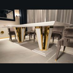 GRAND LUXURY GOLD & IVORY LACQUERED DINING TABLE   Taylor Llorente Furniture