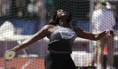 Whitney Ashley competes during the final for the women's discus throw at the U.S. Olympic Track and Field Trials, Saturday, ...